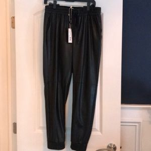 NWT Rebecca Taylor Faux Leather Track Pants